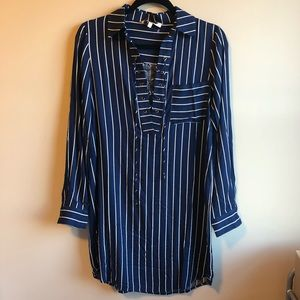 WAYF Dress striped small blue lace up NWOT